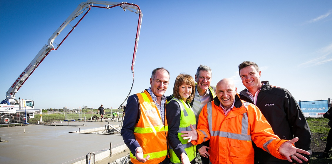South East Water, Villawood and Arden celebrating the start of residential construction at Aquarevo